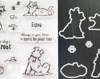 Clear Stamps Ephemera girl Planner Dog Mixed Media Clear stamp set cat Junk Journal Cardmaking Janies Furry Friends boy, DYI