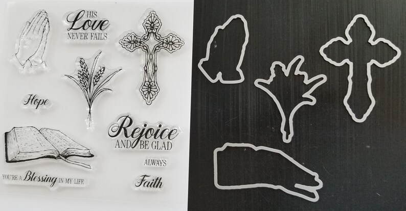 Praying Hands, GODS LOVE Silicone Stamp Set With Coordinating Framelits Dies Cross