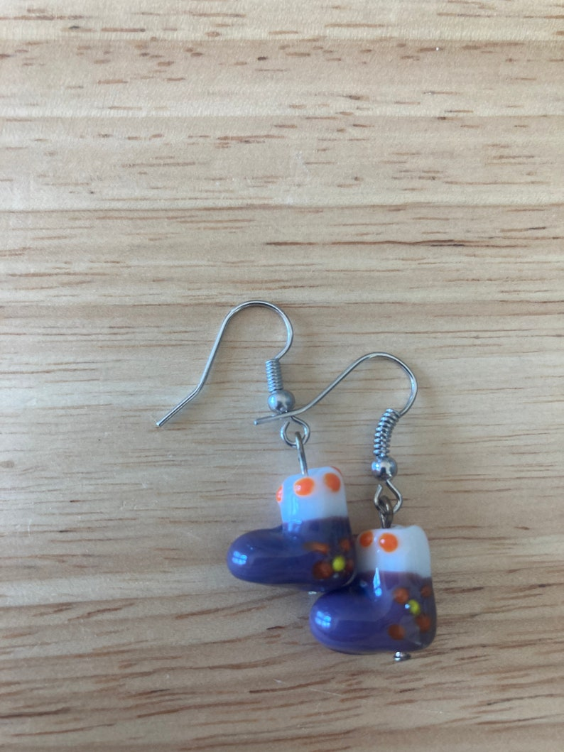 Purple and White Glass Christmas Stocking Earrings  Festive  Holiday Jewelry  Fun Bright Stocking Stuffers