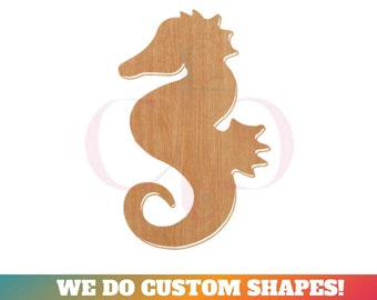 Tags Ornaments Laser Cut #1872 Seahorse Wooden Cutout Shape Silhouette