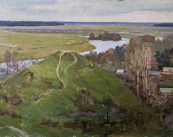 RIVER PAINTING Art of the 20th century Realism Vintage original oil painting on cardboard by Ukrainian artist V.Golubovskiy River in winter