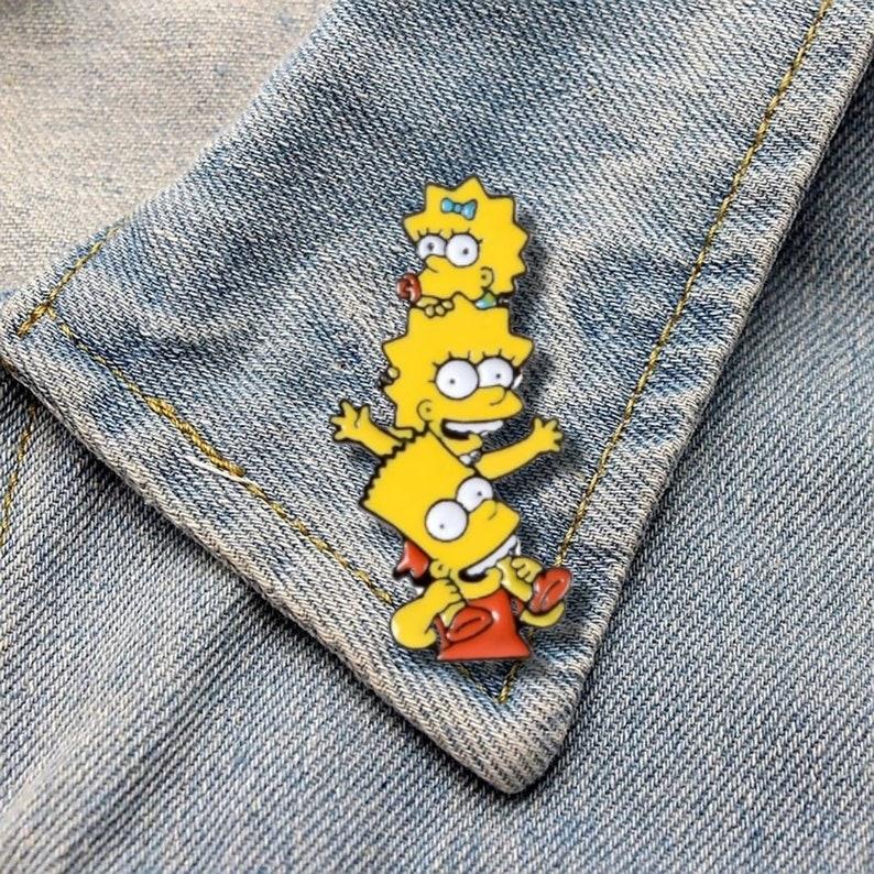 The Simpsons Family Cartoon Character Enamel Pin Lapel Pin The Kids Simpson Family Pin Backpack Pin Custom Enamel Pin Clothes Badge