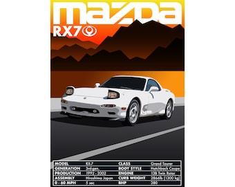 13B INSIDE MAZDA DECAL STICKER ROTARY ENGINE RX7 FC FD REPU RX8 TURBO FD3S BLACK