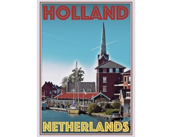 Vintage Alkmaar Netherlands Tourism Poster Print A3//A4