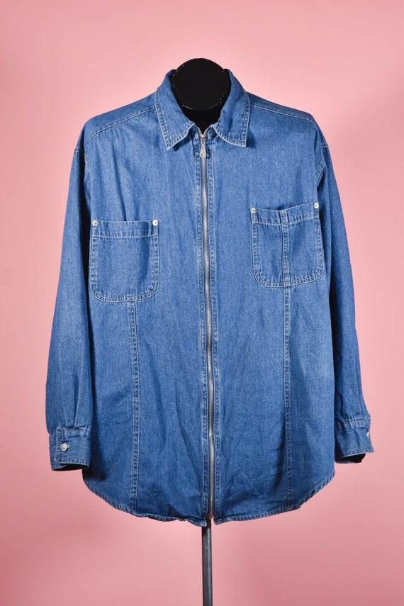 Vintage Plus Size Blue Denim Shacket Size 20