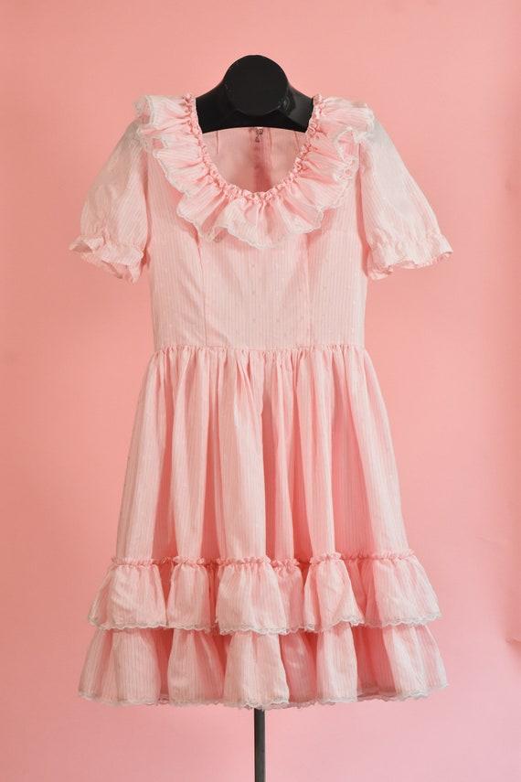 Vintage Pink Ruffle Dress, Pink Cottagecore Dress,