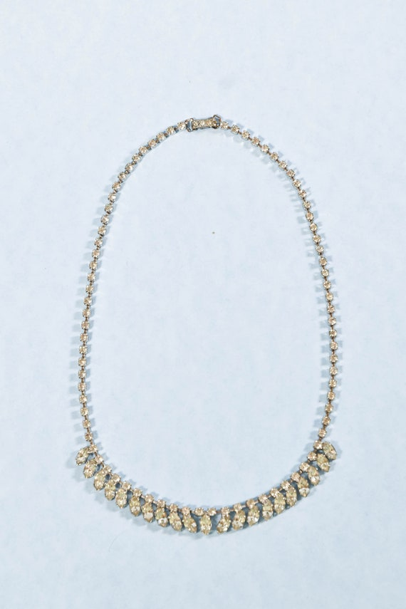 Vintage Silver Marquise Rhinestone Choker Necklace