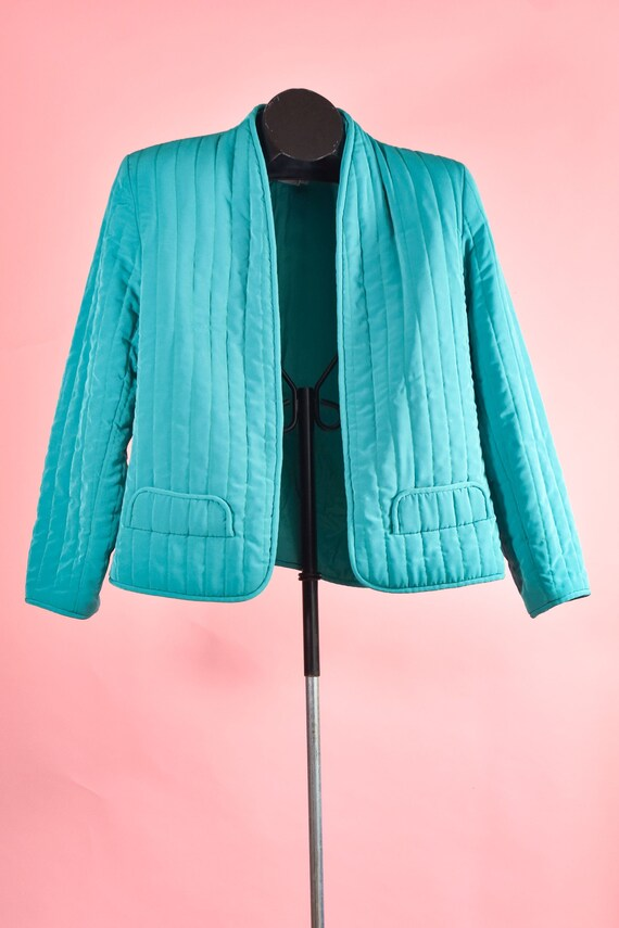 Turquoise Vintage 1980s Quilted Cropped Blazer