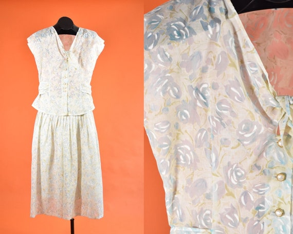 Blue & Cream Floral Two Piece Set 1980s does 1940s