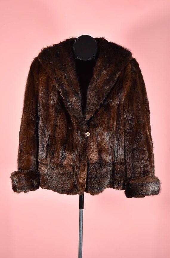 Vintage 1940s Beaver Fur Cropped Jacket Size S/M
