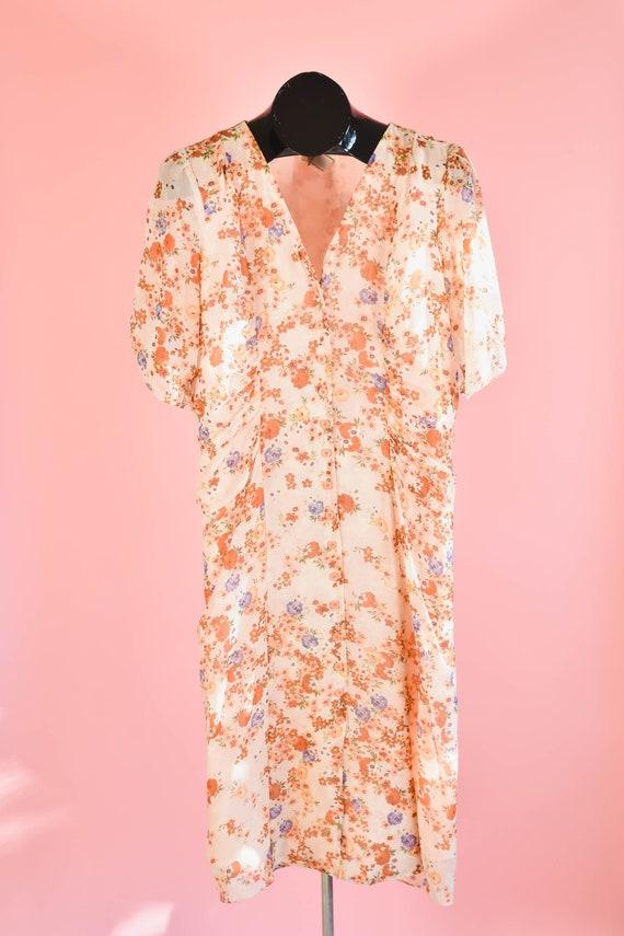 Vintage Pink Silk Floral Ruched Midi Dress Plus Si