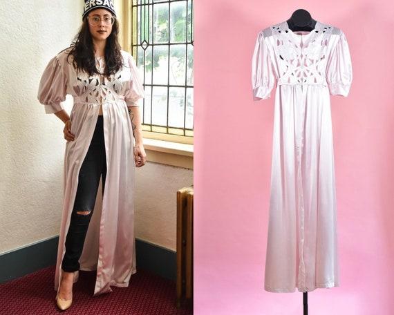 Vintage 1960s Pink Satin Negligee Robe Lingerie
