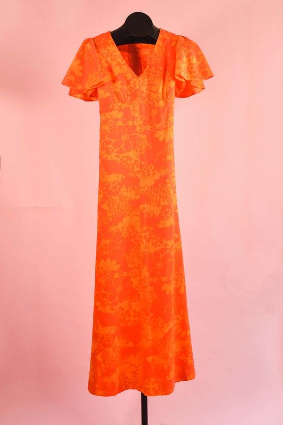 Vintage Handmade 60s Day-Glo Orange Floral Maxi Dr