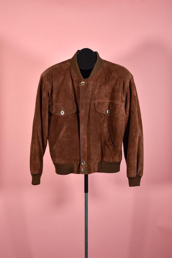 Vintage 1980s Chocolate Brown Suede Bomber Jacket