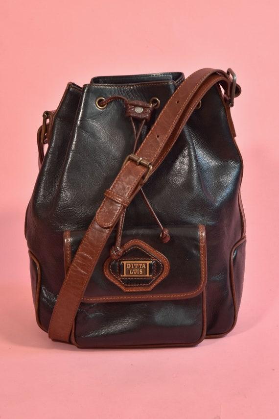 Vintage Black & Brown Leather Bucket Bag