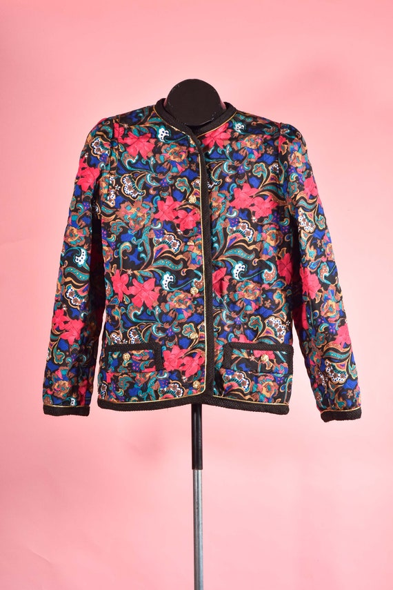 Quilted Black & Pink Paisley 1980s Vintage Blazer