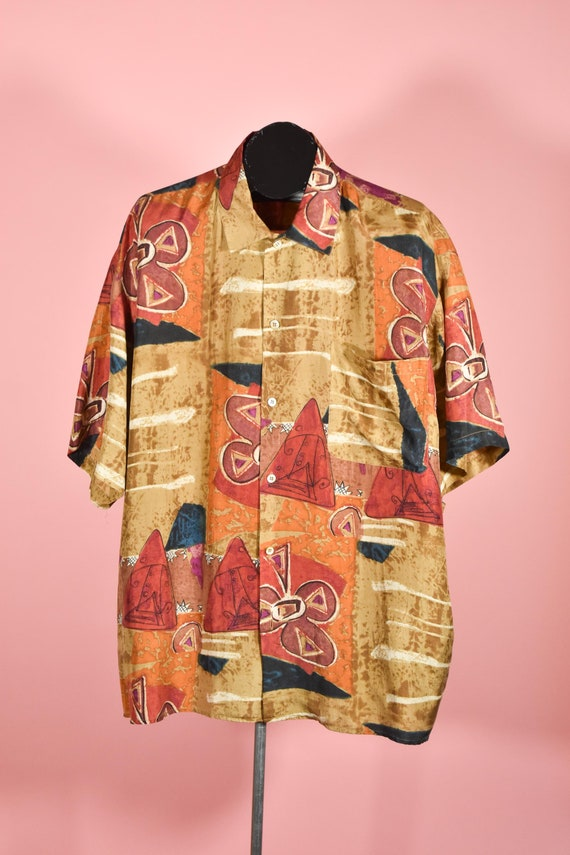 1980s 1990s Brown & Red Abstract 100% Silk Vintage
