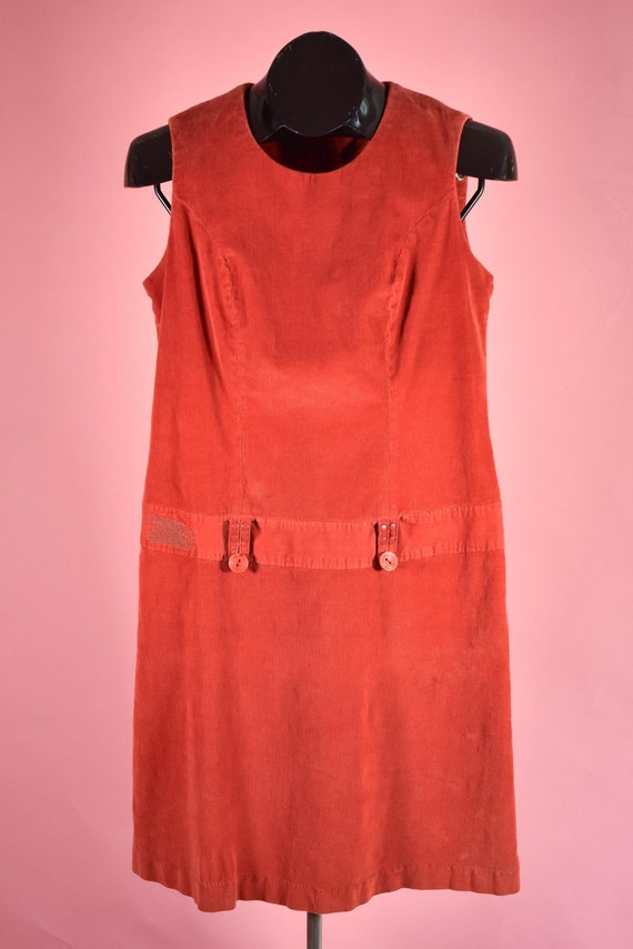 Vintage Orange 90s does 60s Mod Corduroy Mini Dres