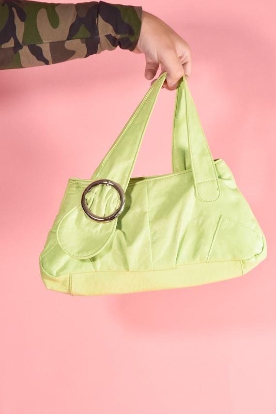 Lime Green Y2K Vegan Leather Baguette Shoulder Bag