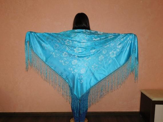 Blue scarf Russian shawl shawl Ukrainian shawl Woo