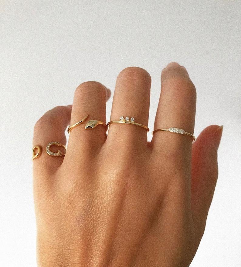 fashion ring engraved ring silver ring thin ring Snake cz ring,Serpent ring vintage ring wrap ring gold ring minimalist dainty ring