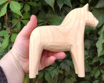 DIY natural Dala Horse - Dalarna - Swedish Design - 17 cm 15 cm 10 cm decorate 5'' 4'' 6'' yellow undyed make yourself