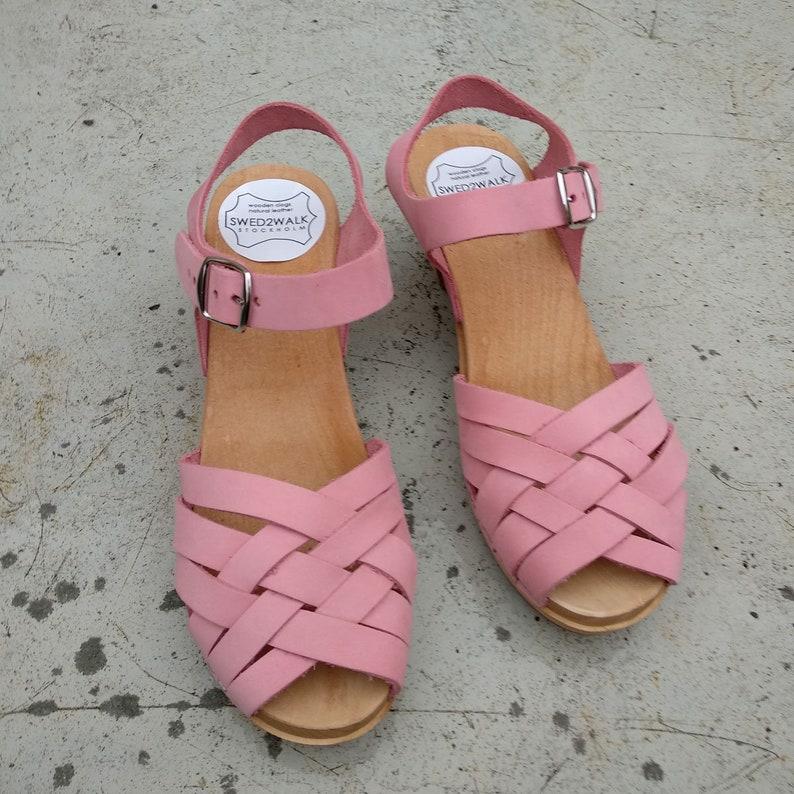 NUBUCK leather Sandals Moccasins Wooden Women clogs Leather Clog Womens clogs Boots Womens Wood brown Swedish Clogs ULLA
