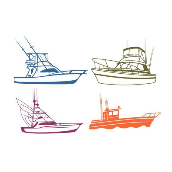 Download Fishing Boat Fish Cuttable Design Png Dxf Svg Eps File For Etsy