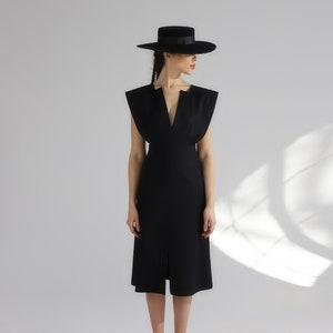 V-neck a-line black italian cotton womens dress.