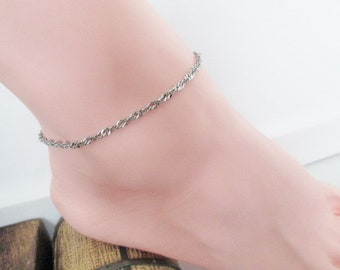 Silver Stainless Steel Anklet Ankle Bracelet Mini Unique Design Select Size USA