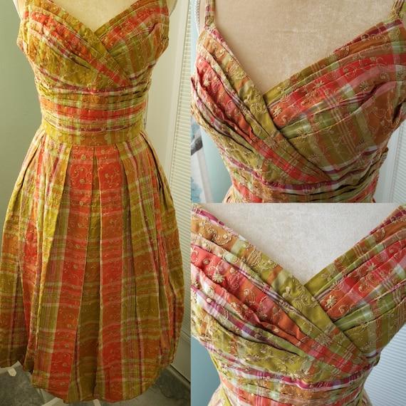 Delightful!  1950s  Greta Plattry  Plaid Sundress