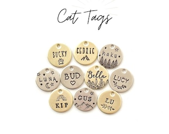 Cat Tags, Pet ID Tags, Mountain, Heart, Moon, Vine, Crown, Bee,Bolt, custom,Paw, Flower, Personalized, whiskers, name Tag for small dogs
