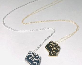 Black Power Fist Necklace