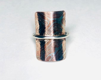 Argentium Silver and Copper Statement Ring