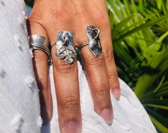 Reticulated Silver Dangle Charm Ring