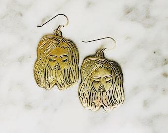Bronze Nubian Prayer Earrings