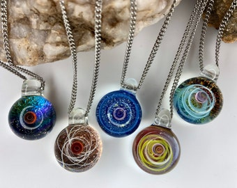 Space nebula blown glass galaxy universe pendant stainless steel necklace , unique gift , unisex