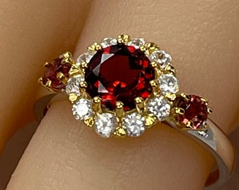 Victorian Marquise-Cut Garnet /& Spinel Rhinestone Floral Cluster Cocktail Ring 18k HGP
