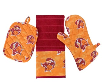 Tampa Bay Buccaneers   Pot Holder Set   Tailgate   Towel   Oven Mitt   Gift   Football   Sports