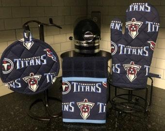 Tennessee Titans   Pot Holder Set   Tailgate   Towel   Oven Mitt   Gift   Football   Sports
