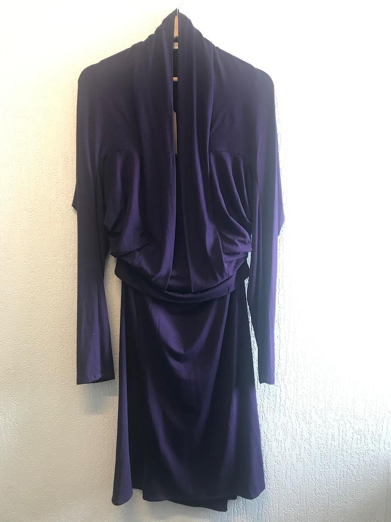 Everyday comfortable /& chic Unique Elegant 2-way Purple Batwing below the knee Dress Size SmallMedium.