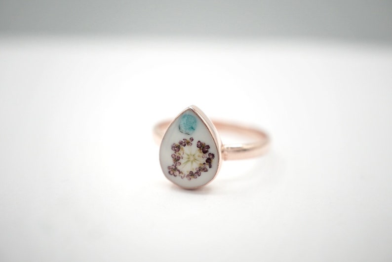 Dainty Delicate Gift For Her Bridesmaids nature flower lover Size 6.5 Real Tiny Flower and Turquoise Gem Set In Rose-Gold-Plated Ring