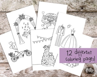 Printable Coloring Pages for Wedding   Kids Wedding Favor   Download Fun Kids Activity for Kids Table   Coloring Sheets
