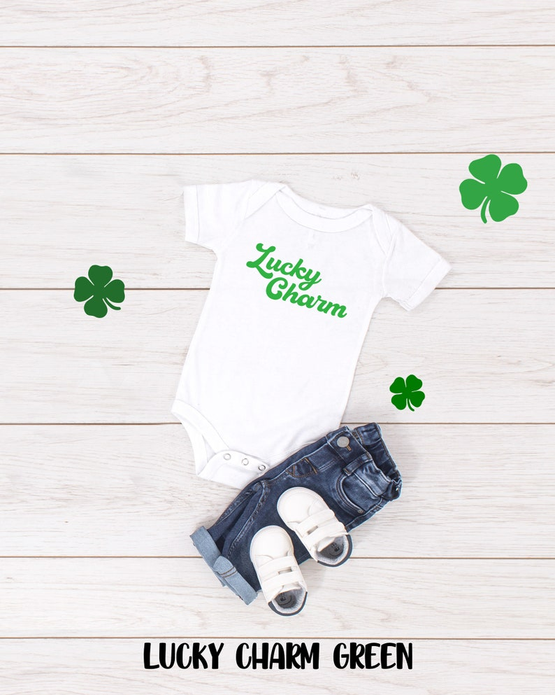 St Patricks Day One Piece or Toddler Tshirt Kids Gender Neutral Bodysuit or Tee Mama/'s Lucky Charm Baby Clothes