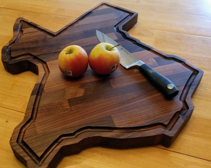 "Large Walnut Texas Cutting Board/ 26 inches by 24 inches by 1.5 inches/ ""Everything Is Bigger In Texas"" /Made in Texas/ FREE SHIPPING!!!!!!!"