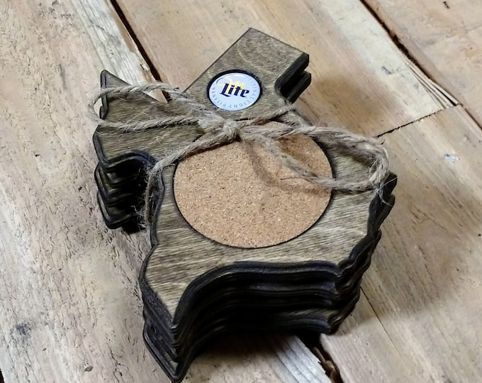 """Texas Coasters """"Miller Lite"""" Bottle cap ,Set Of 4, Stained Dark Walnut, Handcrafted, Wood, MADE IN TEXAS, Free Shipping!!!"""