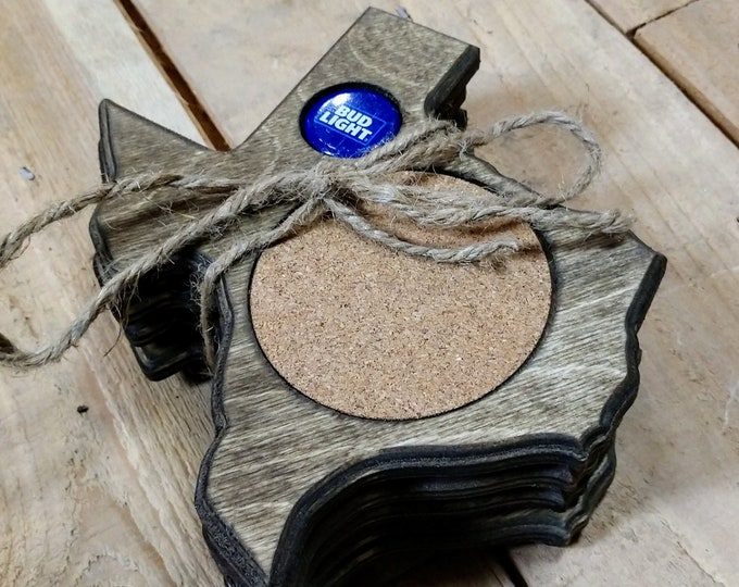 """Texas Coasters """"Budlight"""" Bottle cap ,Set Of 4, Stained Dark Walnut, Handcrafted, Wood, MADE IN TEXAS/ Free shipping!!!"""