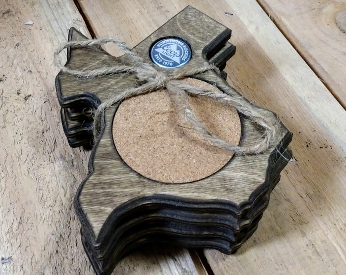 """Texas Coasters """"Coors Light"""" Bottle cap ,Set Of 4, Stained Dark Walnut, Handcrafted, Wood, MADE IN TEXAS, Free Shipping!!!"""