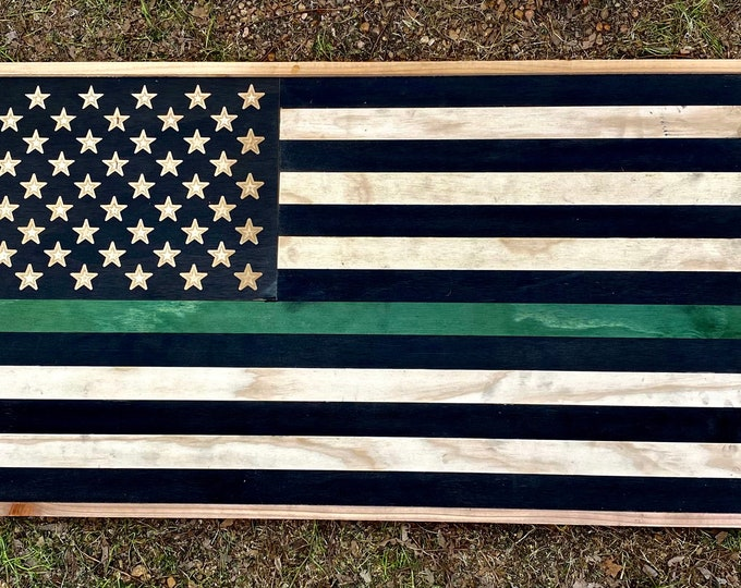 """38"""" x 20"""" Green Line USA Wood Flag/ Handcrafted/ Made to Order/ CNC carved Stars/ Cedar Frame/ Free Shipping/ Made in Texas"""