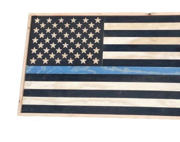 Blue Line USA Wood Flag